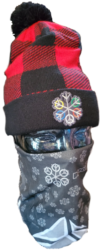 ZEN 6 Point Logo (gray flake/world circles) Decky 8028 Pom Pom Plaid Beanies Red/Black
