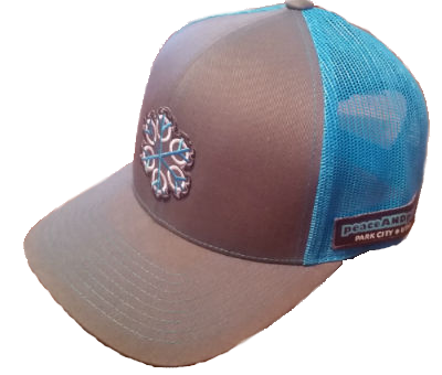 ZEN 6 Point Logo (cyan flake/white circles) Pacific Headwear 104C Trucker Mesh Snap Back Baseball Cap GRAPHITE/NEON BLUE