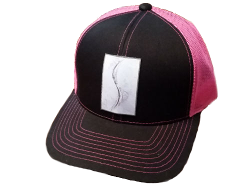 THE MOMENT PIC and Logo (gray flake/world circles) Pacific Headwear 104C Trucker Mesh Snap Back Baseball Cap BLACK/PINK