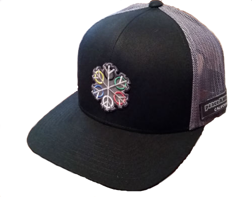 ZEN 6 Point Logo (gray flake/world circles) Pacific Headwear 104C Trucker Mesh Snap Back Baseball Cap BLACK/GRAPHITE