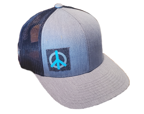 THE FLORET (off-center right cyan/gray) on canvas patch Richardson 112 Twill Mesh Snapback Trucker Caps HEATHERGREY/BLACK
