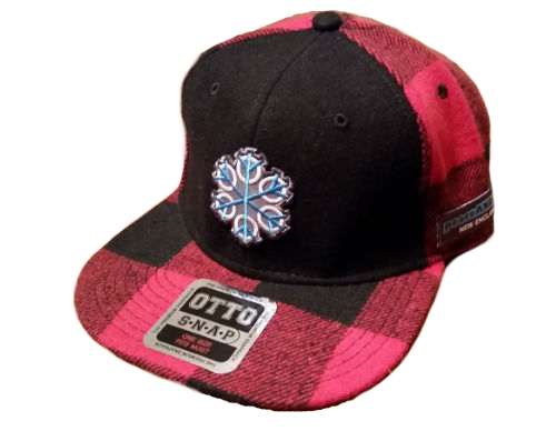 ZEN 6 Point Logo (cyan flake/white circles) Otto 148-1187 MELTON WOOL BLEND FLANNEL SQUARE FLAT VISOR SIX PANEL PRO STYLE SNAPBACK HAT Black/Red
