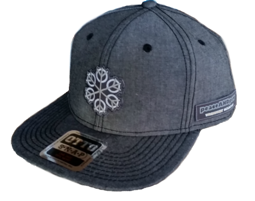 ZEN 6 Point Logo (gray flake/white circles) Otto 148-1189 COTTON BLEND CHAMBRAY SQUARE FLAT VISOR SIX PANEL PRO STYLE SNAPBACK HAT Black