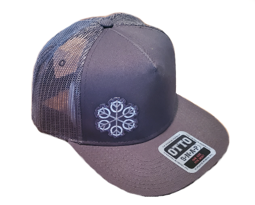 ZEN Freestyle (off-center right gray/white colors) Otto 154-1124 SUPERIOR COTTON TWILL ROUND FLAT VISOR FIVE PANEL PRO STYLE MESH BACK TRUCKER SNAPBACK HAT Char. Gray