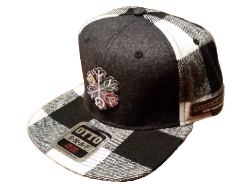 ZEN 6 Point Logo (gray flake/white circles) Otto 148-1187 MELTON WOOL BLEND FLANNEL SQUARE FLAT VISOR SIX PANEL PRO STYLE SNAPBACK HAT Black/Gray/White