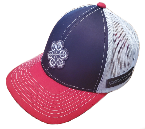 ZEN 6 Point Logo (gray flake/white circles) Outdoor Cap MB-800P Mesh Back hook and loop RED/WHITE/BLUE