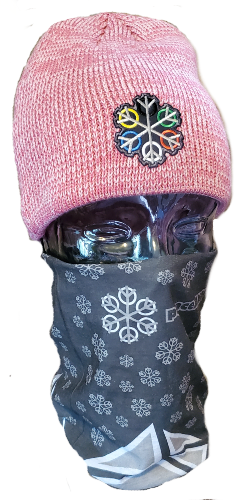 ZEN 6 Point Logo (gray flake/world circles) Sportsman SP03 Marled Knit Beanie Pink/Dark Pink